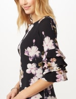 Chacha Sleeve Knit Crepe Floral Sheath Dress - Navy/Lavender - Detail
