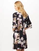 Chacha Sleeve Knit Crepe Floral Sheath Dress - Navy/Lavender - Back