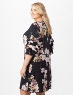 Chacha Sleeve Knit Crepe Floral Sheath Dress Plus - Navy/Lavender - Back