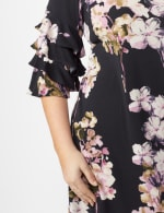 Chacha Sleeve Knit Crepe Floral Sheath Dress Plus - Navy/Lavender - Detail