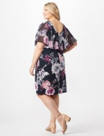 Floral Dress with Chiffon Cape Plus - Navy - Back