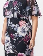 Floral Dress with Chiffon Cape Plus - Navy - Detail