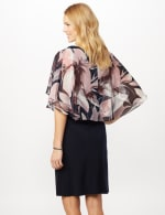 Solid ITY Dress with Floral Print Cape - Navy - Back