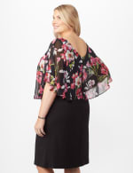 Solid Crepe Dress with Floral Cape - Fuschia - Back