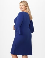 Wrap Dress with Side Ruching - Royal - Back