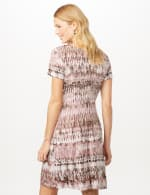 Short Sleeve Tie Dye Fit and Flare Dress - Dusty Rose - Back
