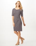 Geometric Side Wrap Dress - Mauve - Front
