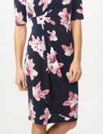 Pink Floral Dress with Side Ruch - Navy/ Mauve - Detail