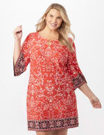 Scroll Puff ITY Border Print Dress Plus - Orange - Front