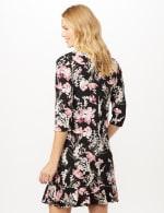 Floral Puff ITY Dress with Flounce Hem - Black/Blush - Back