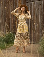 Chiffon Mixed Print Peasant Dress - Ivory/Gold - Detail