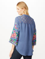 Embroidered Sleeve Woven Top with Tie Front - Blue - Back