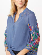 Embroidered Sleeve Woven Top with Tie Front - Blue - Detail