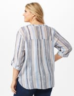 Roll Tab Sleeve Stripe Slub Button Front Woven Top - Tan/Blue - Back