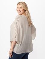 V-Neck Slub Crochet Woven Top - Light Stone - Back