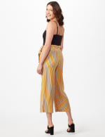 Gold Striped Pants with Tie Waist - Gold - Back