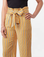 Gold Striped Pants with Tie Waist - Gold - Detail