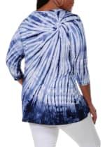 3/4 Sleeve Tie Dye Top - Navy - Back