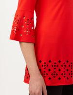 Boat Neck Bell Sleeve Knit Tunic - Blood Orange - Detail