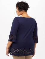 Boat Neck Bell Sleeve Knit Tunic - Plus - Navy - Back