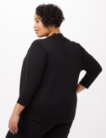 Scallop Trim Cardigan - Plus - Black - Back