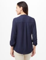 Textured Henley Popover Top - Navy - Back