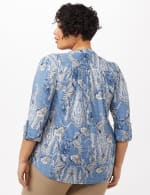 Paisley Knit Popover Top - Lt Blue - Back