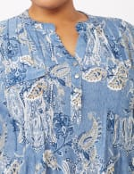 Paisley Knit Popover Top - Lt Blue - Detail