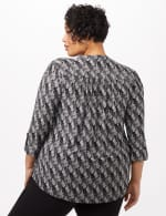 Geo Knit Popover Top - Black/White - Back