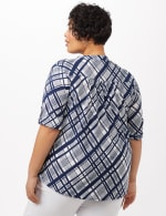 Plaid Knit Popover Top - White/Navy - Back
