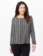 Striped Crepe Blouse - Black/White - Front