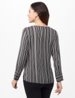 Striped Crepe Blouse - Black/White - Back