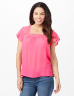 Textured Square Neck Crochet Trim Top - Strawberry - Front