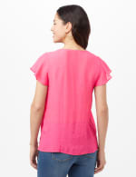 Textured Square Neck Crochet Trim Top - Strawberry - Back
