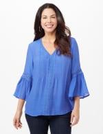 V-Neck Crochet Trim Texture Top - Blue - Front
