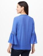 V-Neck Crochet Trim Texture Top - Blue - Back