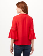 V-Neck Crochet Trim Texture Top - Red - Back