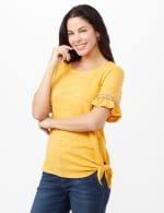 Ruffle Sleeve Texture Knit Top - Ochre - Front