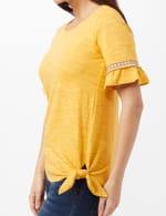 Ruffle Sleeve Texture Knit Top - Ochre - Detail