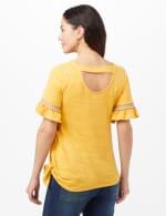Ruffle Sleeve Texture Knit Top - Ochre - Back