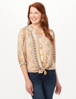 Vertical Print Tunic Shirt - Yellow - Front