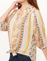 Vertical Print Tunic Shirt - Yellow - Detail