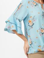 Cold Shoulder Floral Tie Front Blouse - Aqua - Detail
