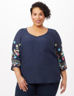 Embroidered Sleeve Texture Blouse - Navy - Front