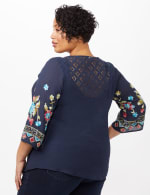 Embroidered Sleeve Texture Blouse - Navy - Back