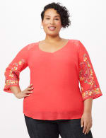 Embroidered Sleeve Texture Blouse - Orange - Front