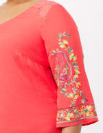 Embroidered Sleeve Texture Blouse - Orange - Detail