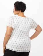 Diamond Print Lurex Blouse - Ivory - Back