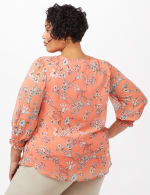 Floral Smock Shoulder Peasant Top - Coral - Back