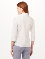 Ultimate Fit Button Front Crochet Trim Shirt - White - Back